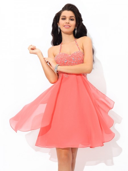 A-Line/Princess Watermelon Chiffon Short/Mini Homecoming Dresses with Beading