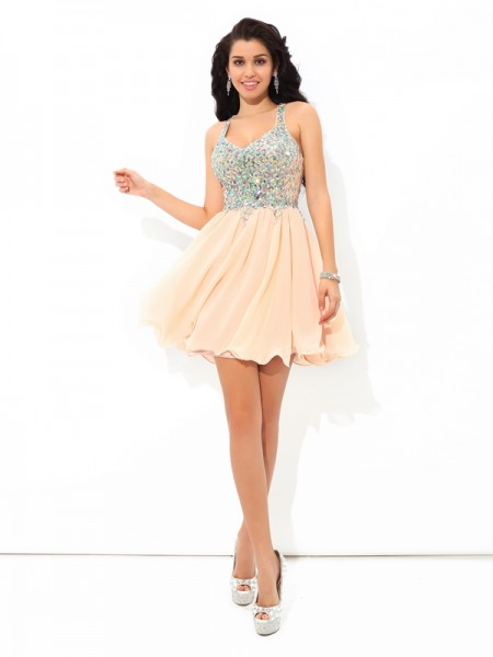 A-Line/Princess Pink Chiffon Short/Mini Homecoming Dresses with Rhinestone
