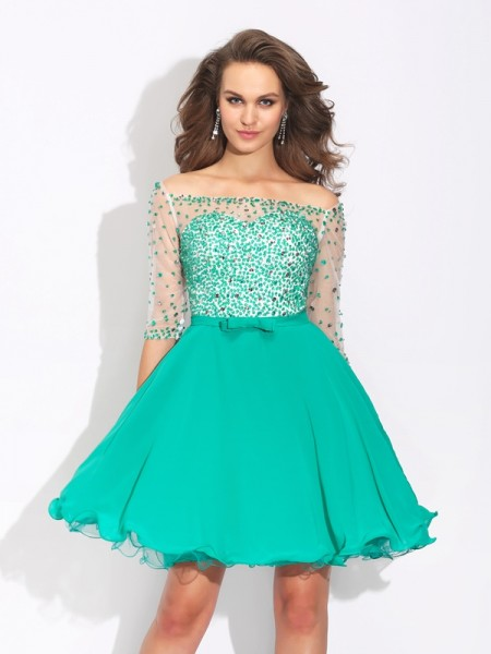 A-Line/Princess Green Chiffon Short/Mini Homecoming Dresses with Beading