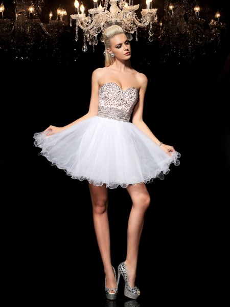 A-Line/Princess White Net Short/Mini Homecoming Dresses with Beading