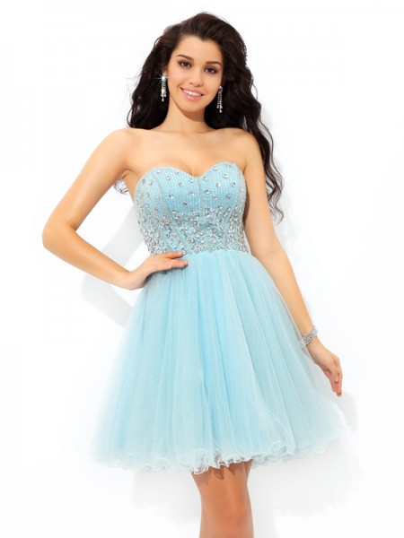 A-Line/Princess Blue Satin Short/Mini Homecoming Dresses with Beading