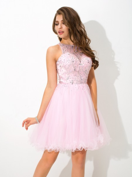 A-Line/Princess Pink Net Short/Mini Homecoming Dresses with Beading