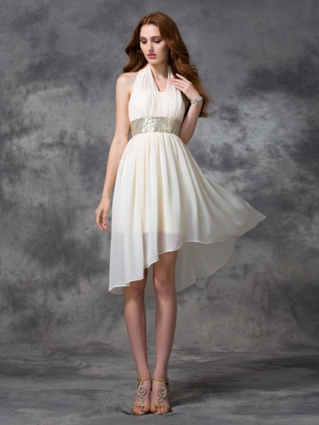 A-Line/Princess Ivory Chiffon Asymmetrical Homecoming Dresses with Sequin