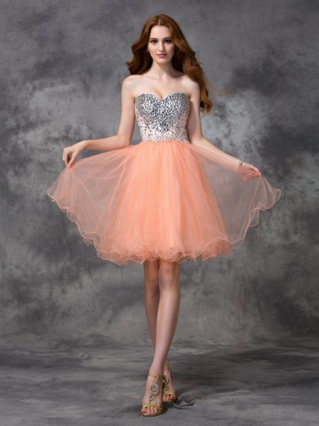 A-Line/Princess Orange Net Short/Mini Homecoming Dresses with Beading