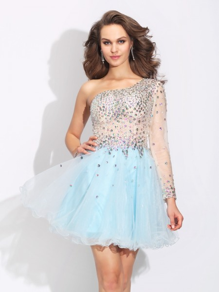 A-Line/Princess Light Sky Blue Elastic Woven Satin Short/Mini Homecoming Dresses with Beading