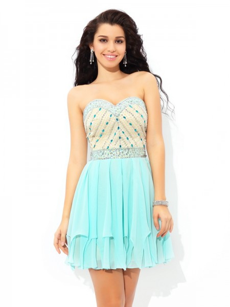 A-Line/Princess Blue Chiffon Short/Mini Homecoming Dresses with Beading