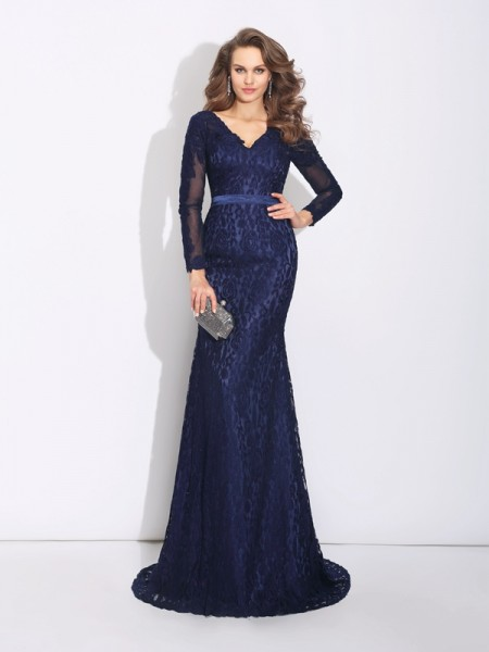 Sheath/Column Dark Navy Lace Sweep/Brush Train Evening Dresses with Other