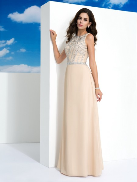 A-Line/Princess Champagne Chiffon Floor-Length Evening Dresses with Beading