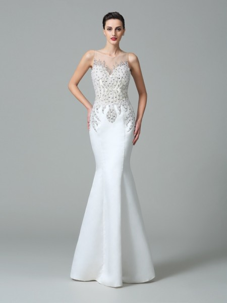 Trumpet/Mermaid White Satin Floor-Length Evening Dresses with Applique