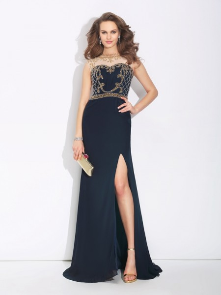 A-Line/Princess Dark Navy Chiffon Sweep/Brush Train Evening Dresses with Beading