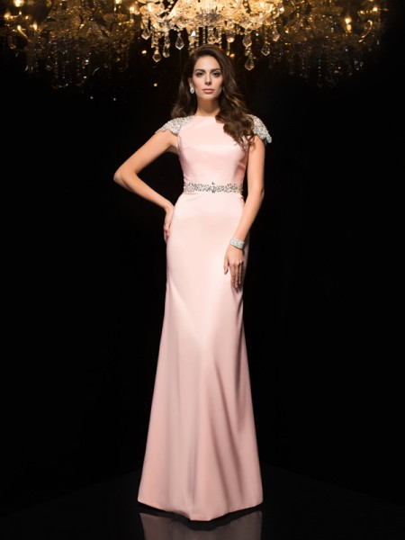 Sheath/Column Pink Satin Floor-Length Evening Dresses with Beading