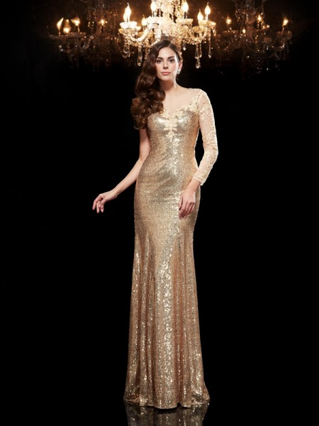 Trumpet/Mermaid Gold Sequins Floor-Length Evening Dresses with Lace