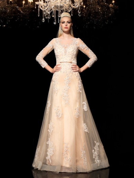 A-Line/Princess Champagne Satin Floor-Length Wedding Dresses with Applique