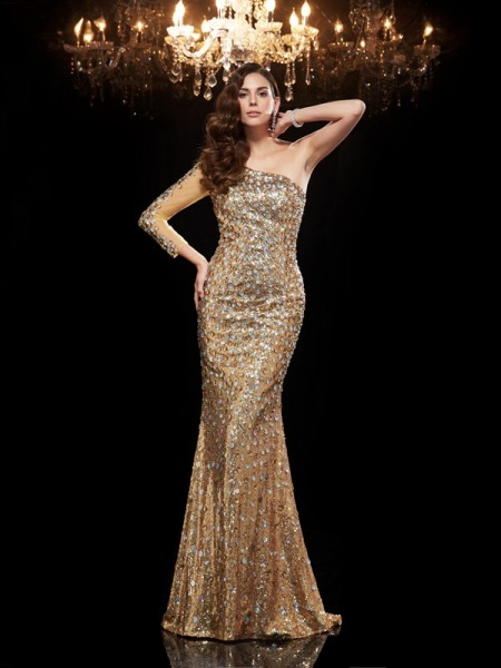 Trumpet/Mermaid Gold Sequins Floor-Length Evening Dresses with Beading