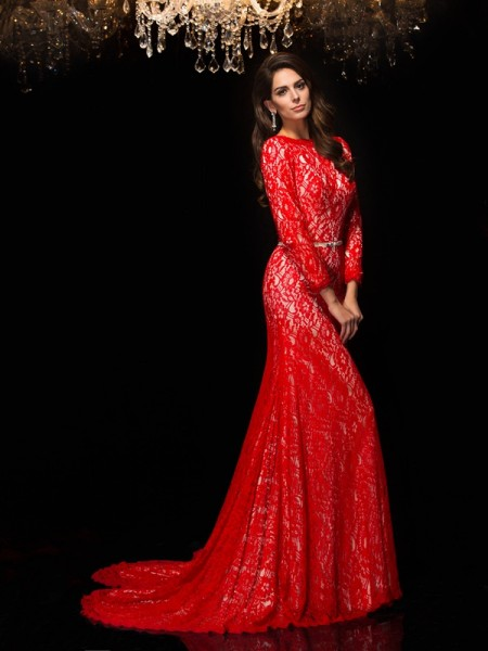 Sheath/Column Red Lace Sweep/Brush Train Evening Dresses with Lace