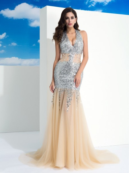 Sheath/Column Champagne Net Sweep/Brush Train Evening Dresses with Paillette