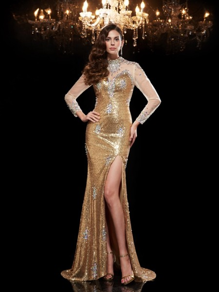 Trumpet/Mermaid Gold Sequins Sweep/Brush Train Evening Dresses with Beading