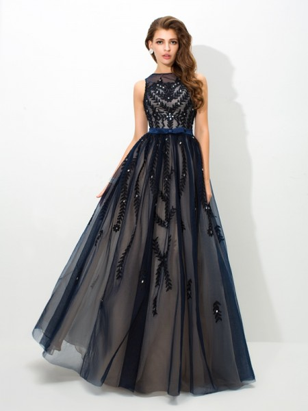 A-Line/Princess Dark Navy Tulle Floor-Length Dresses with Applique