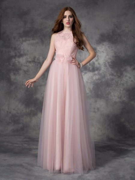 A-Line/Princess Pearl Pink Net Floor-Length Evening Dresses with Hand-Made Flower