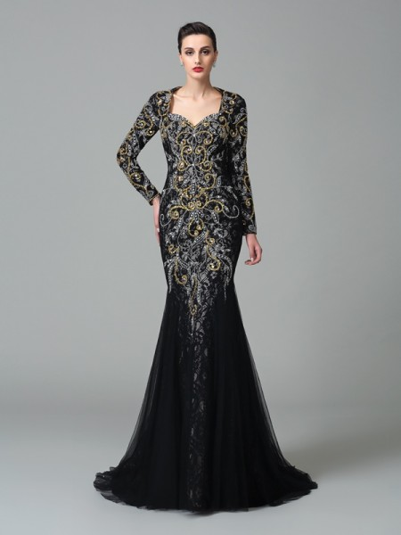 Trumpet/Mermaid Black Net Sweep/Brush Train Evening Dresses with Beading