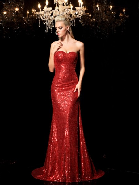 Sheath/Column Red Sequins Sweep/Brush Train Dresses with Sequin