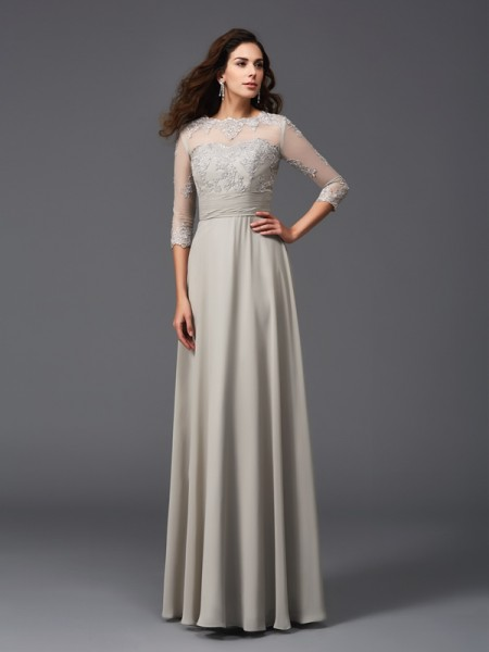 A-Line/Princess Silver Chiffon Floor-Length Dresses with Applique