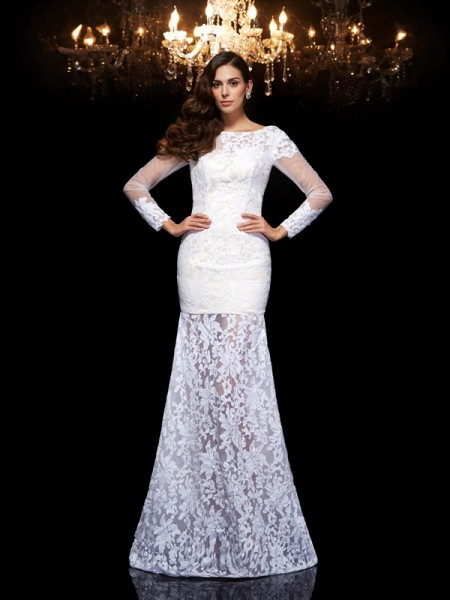 Trumpet/Mermaid White Lace Floor-Length Evening Dresses with Lace