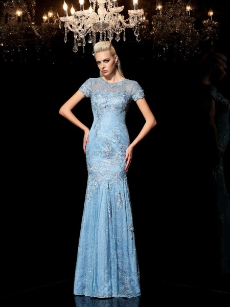 Sheath/Column Blue Lace Floor-Length Evening Dresses with Applique