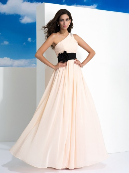 A-Line/Princess Pearl Pink Chiffon Floor-Length Dresses with Sash/Ribbon/Belt