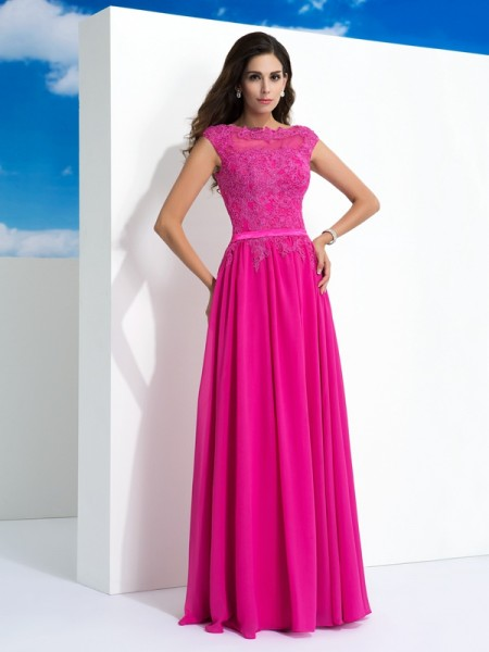 A-Line/Princess Fuchsia Chiffon Floor-Length Dresses with Lace