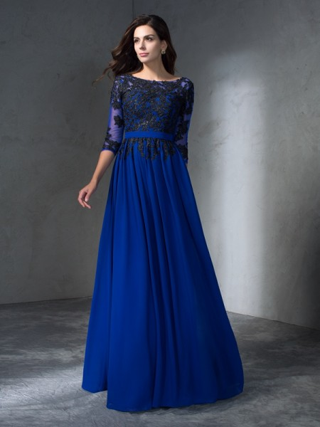 A-Line/Princess Royal Blue Chiffon Floor-Length Dresses with Applique