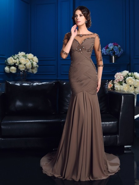 Sheath/Column Brown Chiffon Court Train Mother Of The Bride Dresses with Beading