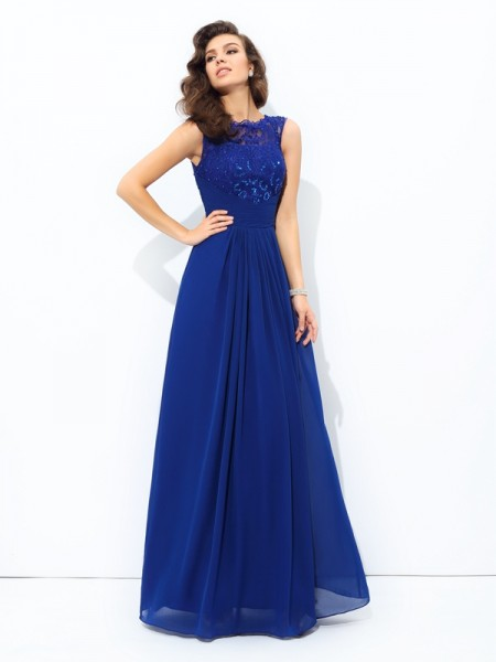 A-Line/Princess Royal Blue Chiffon Floor-Length Dresses with Lace