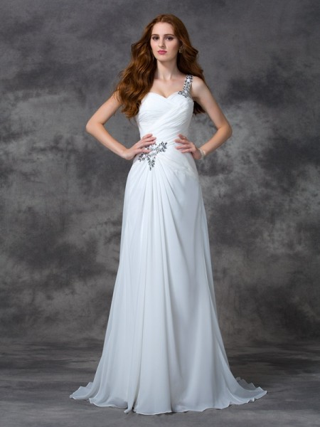 A-Line/Princess White Chiffon Sweep/Brush Train Wedding Dresses with Beading