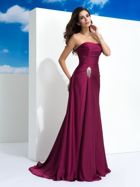A-Line/Princess Burgundy Satin Chiffon Sweep/Brush Train Evening Dresses with Pleats