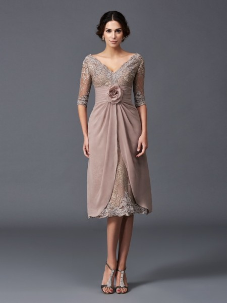 A-Line/Princess Brown Lace Tea-Length Mother Of The Bride Dresses with Hand-Made Flower