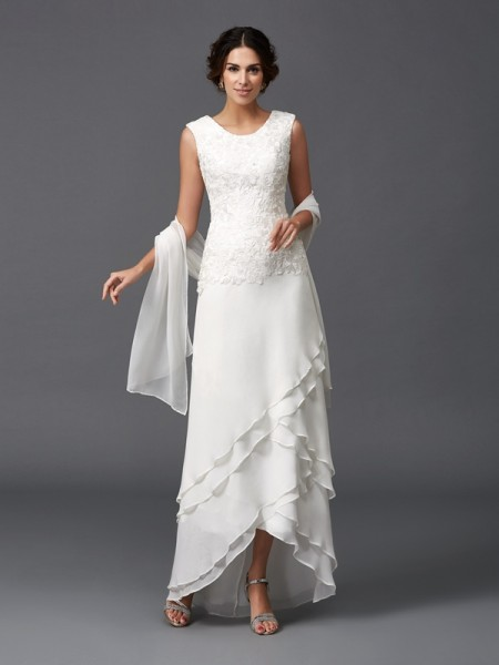 A-Line/Princess Ivory Chiffon Ankle-Length Mother Of The Bride Dresses with Lace