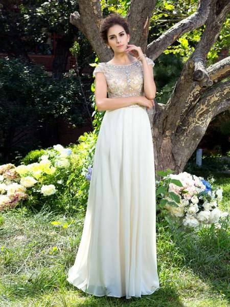 A-Line/Princess White Chiffon Sweep/Brush Train Dresses with Rhinestone