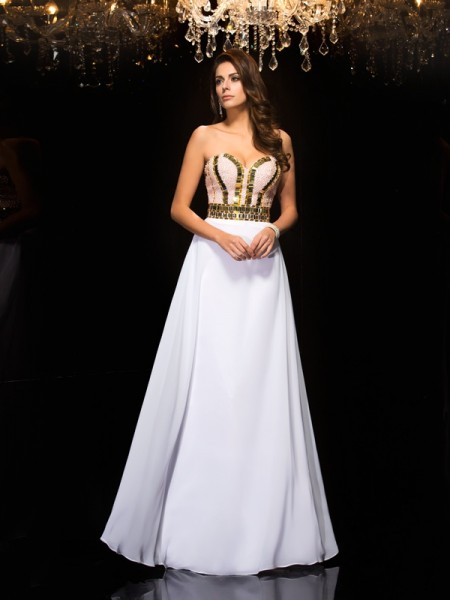 A-Line/Princess White Chiffon Floor-Length Dresses with Sequin