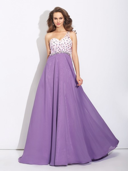 A-Line/Princess Regency Chiffon Sweep/Brush Train Dresses with Crystal