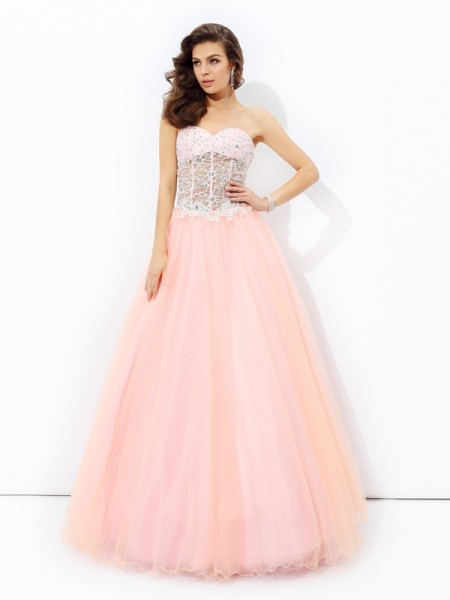 A-Line/Princess Pink Net Floor-Length Dresses with Lace