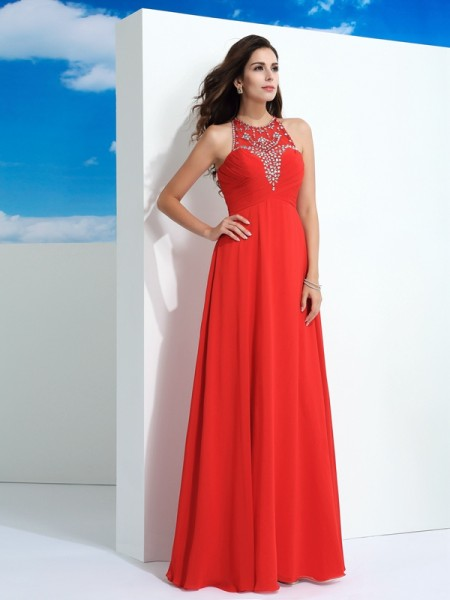 A-Line/Princess Watermelon Chiffon Floor-Length Dresses with Beading