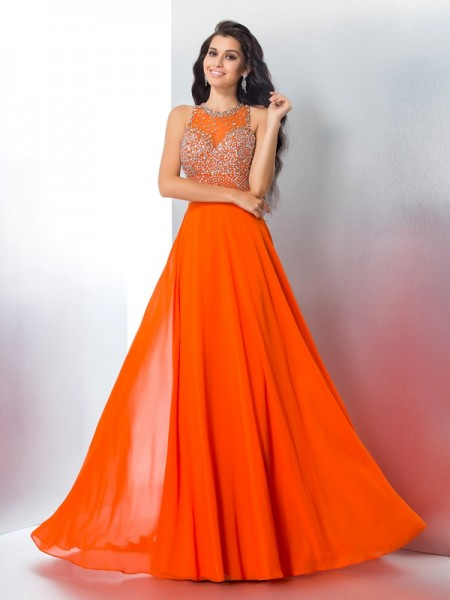 Trumpet/Mermaid Orange Chiffon Sweep/Brush Train Dresses with Beading