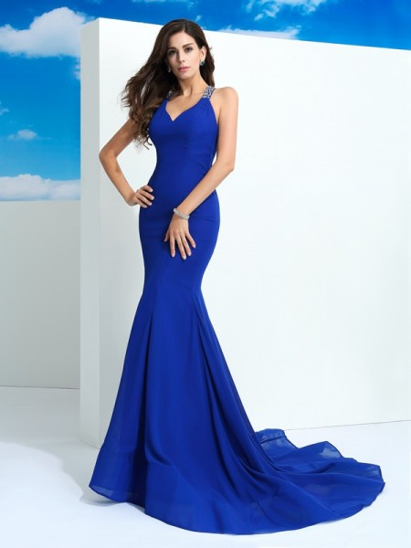 Sheath/Column Royal Blue Chiffon Court Train Dresses with Beading