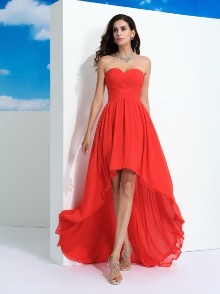 A-Line/Princess Watermelon Chiffon Asymmetrical Dresses with Pleats