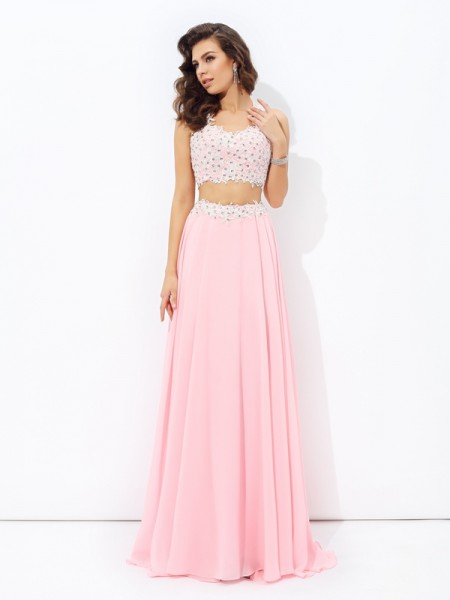 A-Line/Princess Pink Chiffon Floor-Length Dresses with Applique