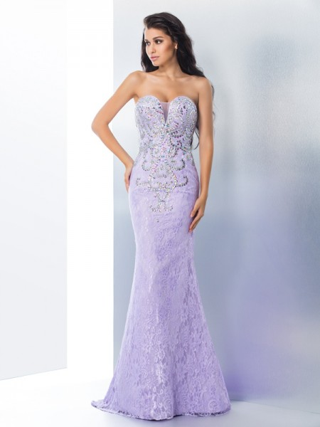 Trumpet/Mermaid Lavender Lace Sweep/Brush Train Dresses with Beading