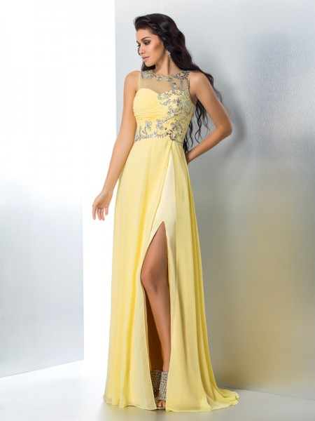 A-Line/Princess Yellow Chiffon Sweep/Brush Train Dresses with Beading