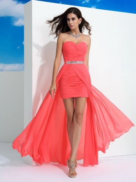 Sheath/Column Watermelon Chiffon Floor-Length Dresses with Pleats