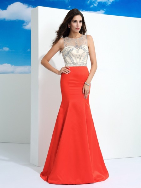 Trumpet/Mermaid Watermelon Satin Floor-Length Dresses with Beading
